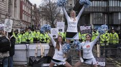 Zoo Fever Cheerleaders go all political at the Iraq Inquiry - www.londoncheerleaders.co.uk