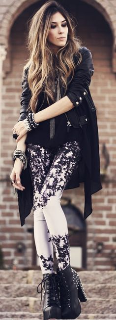 #street #style / white floral print + leather