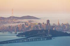 San Francisco, view from Bay Bridge and Treasure Island