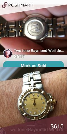 LOOKING 4 OFFERS!!☺️ Raymond Weil Watch 💐💐💐💐💐💐💐Gorgeous two tone watch with diamonds at each hour, wrist band can be made smaller . Raymond Weil Jewelry
