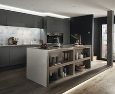 Clerkenwell Gloss Slate Grey, A gloss slate grey frontal perfect for modern and industrial design schemes.