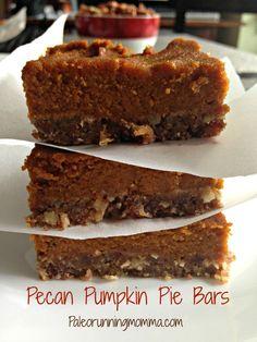 Paleo Pecan Pumpkin Pie Bars - Healthy paleo pumpkin pie bars with a pecan, date and honey crust and spiced pumpkin filling. @paleorunmomma