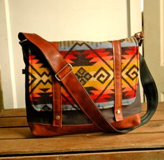 Wool Leather and Canvas Messenger Bag NEW by appetite on Etsy, $144.00