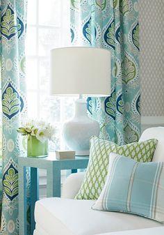 Coastal Bedrooms, Coastal Living Rooms, Living Room Decor, Decor Room, Room Decorations, House Of Turquoise, Turquoise Room, Turquoise Accents, Green Accents