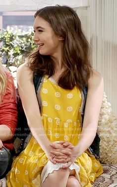 Riley's yellow dotted dress on Girl Meets World.  Outfit Details: https://wornontv.net/59285/ #GirlMeetsWorld