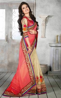 Picture of Trendy Salmon and Biscuit Cream Color Saree