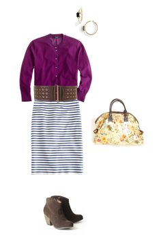Plum stripes & boots.  floral bag and booties to boot.  @camp 1899 www.camp1899.com