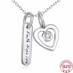 5591a1528 Faith Hope Love Sterling Silver Crystal Heart Pendant Necklace Christian  Jewelry, Girls Necklaces, Jewelry