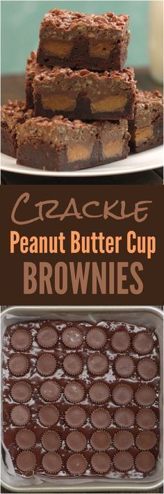 Fudgy brownies topped with a crackly layer of crispy rice cereal coated in melted chocolate and crunchy peanut butter--with a surprise peanut butter cup center. (easy desert in a cup) Peanut Butter Cups, Peanut Butter Cup Brownies, Peanut Butter Desserts, Brownie Recipe Video, Brownie Recipes, Cookie Recipes, Dessert Recipes, Cereal Recipes, Party Recipes