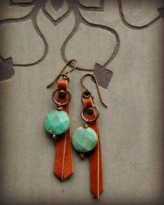 Leather and Green Opal Coin Earrings by LoreleiEurtoJewelry, $25.00