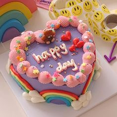 Pretty Birthday Cakes, Pretty Cakes, Beautiful Cakes, Amazing Cakes, Fancy Cakes, Mini Cakes, Simple Cake Designs, Korean Cake, Frog Cakes