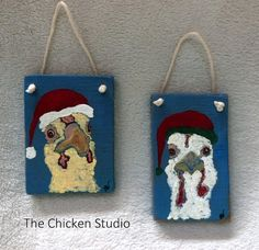 Chickens in Santa Hats - Two Personalized Original Christmas Ornaments