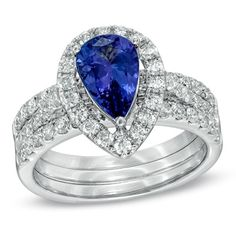 Art Certified Pear-Shaped Tanzanite and 7/8 CT. T.W. Diamond Three-Piece Bridal Set in 14K White Gold wedding-bells
