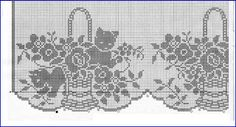 MIRIA CROCHÊS E PINTURAS: CROCHÊS COM MOTIVOS DE GATINHOS Crochet Curtains, Crochet Tablecloth, Filet Crochet, Lace Trim, Crochet Patterns, Cross Stitch, Embroidery, Sewing, Knitting