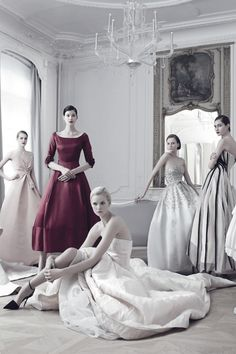 """Models wear """"Dior Haute Couture"""" dresses by Raf Simons from diverse seasons including Spring/Summer 2013; ph. by Jean-Baptiste Mondino 