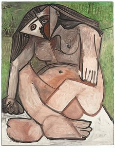 """Pablo Picasso - """"Nu accroupi"""", 14 II 1960 - Oil on canvas - 146 x cm (*) Kunst Picasso, Art Picasso, Picasso Paintings, Picasso Drawing, Georges Braque, Paul Gauguin, Post Impressionism, Impressionist, Henri Matisse"""