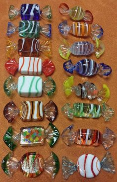 Murano Hard Candy Wrapped Candies 16 Piece Lot Art Decorative Glass STUNNING