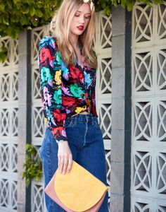 JENNA CLUTCH - SUN SUEDE  Look: Vintage Ungaro Blouse with Levi's   C.A.B. + GIFT OF GARB