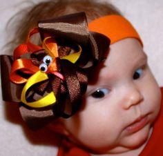 Thanksgiving Turkey Hair Clip, Brown Hair Bow, and Orange Headband