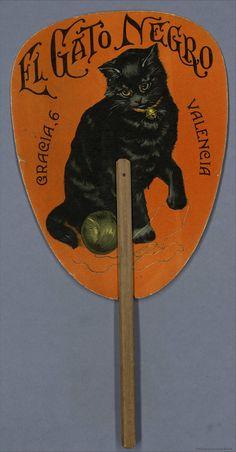 'El Gato Negro' Spanish advertising hand fan, 1920-40