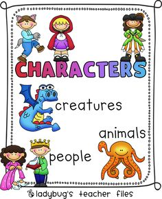 Story Elements: Character Poster (FREE) created by Ladybug's Teacher Files Kindergarten Anchor Charts, Kindergarten Language Arts, Kindergarten Literacy, Preschool Writing, Reading Skills, Teaching Reading, Guided Reading, Reading Response, Learning