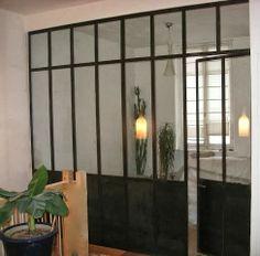 Ensemble en acier : cloison acier et verre entre cuisine et salon ...