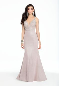 Turn heads in this iridescent beauty: take on prom night in this fabulous evening gown, featuring a sweetheart neckline, fitted bodice with rhinestone straps, a strappy back and mermaid skirt that accentuates your curves makes you feel flawless! Match this dress with metallic heels, drop earrings and a trendy sparkle fabric box bag. #CamilleLaVie