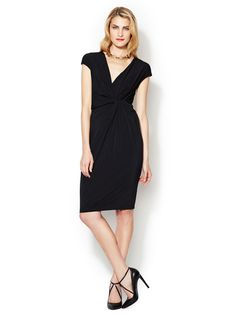 Jersey Sheath Dress with Twisted Knot Detail