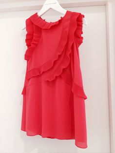 Mini me style red pleated chiffon girls dress at Little Marc Jacobs for spring/summer 2015