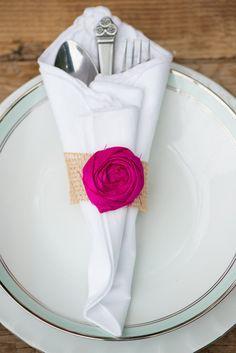 Napkin Ring Burlap Wedding Decor Burlap Fuchsia Pink Flower Rustic Shabby Chic Wedding Decor Table Decor Table Setting