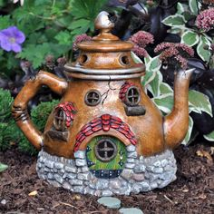 Fiddlehead Fairy Garden | Fiddlehead Fairy Village Tea Pot House  Yeah, I like Fairy Stuff. So. What.