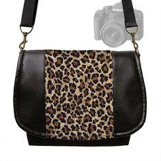 Leopard Digital SLR Camera Bag  Dslr Camera Bag Purse Vegan Black Leather Camera Bag Padded Zipper Cheetah Animal Print (MTO)