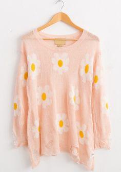Pink Long Sleeve Daisy Ripped Hem Sweater - Sheinside.com