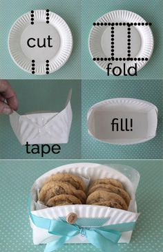 DIY cookie basket made from a paper plate - Clever home-made gift basket for baked goodies! -easy DIY cookie basket made from a paper plate - Clever home-made gift basket for baked goodies! Cookie Baskets, Food Baskets, May Day Baskets, Cheap Baskets, Easter Baskets, Dyi Baskets, Making Baskets, Egg Basket, Paper Plates