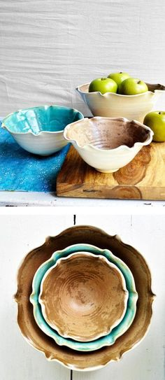 minimalist Nesting Bowls from Lee Wolfe Pottery: