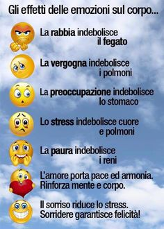 Gli effetti delle emozioni sul corpo... Funny Quotes, Life Quotes, In Natura, Health And Wellness Quotes, Italian Language, Emoticon, Emoji, Problem Solving, Body Care
