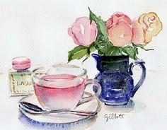 Paris Breakfast at Etsy Tea Illustration, Dessert Illustration, Watercolor Illustration, Watercolor Food, Watercolor Paintings, Watercolors, Doodle, Tea Art, Food Drawing