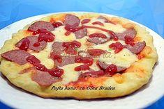 Pizza la tigaie (pancakes aperitiv) Pizza Lasagna, Hawaiian Pizza, Pepperoni, Crepes, Vegetable Pizza, Pasta, Vegetables, Cooking, Food