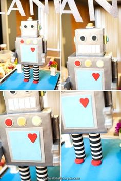 Robot Themed Surprise Baby Shower - Decoration For Home Kids Crafts, Projects For Kids, Valentine Day Boxes, Valentines For Boys, Robot Baby Showers, Box Robot, Robot Cake, Maker Fun Factory Vbs, Recycled Robot