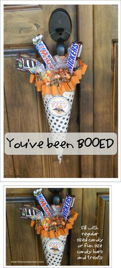 """(Freebie) """"You've been BOOed""""~ Halloween Treats for friends, family, & neighbors! Free Printable & tutorial for cute Halloween candy cone. Soirée Halloween, Halloween Goodies, Holidays Halloween, Halloween Decorations, Halloween Printable, Halloween Parties, Halloween Snacks, Halloween Candy Crafts, Halloween Teacher Gifts"""
