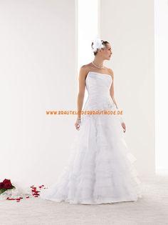 2014 Elegante Brautkleider aus Satin A-Linie mit Schleppe