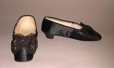 1860s evening slippers, silk