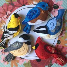 Mix & Match Birds - Felt Bird Ornaments, Holiday Bird Ornaments, Handmade Felt Ornaments, Redbird, Chickadee, Goldfinch, Bluebird, Nuthatch by CourtneyGotch on Etsy https://www.etsy.com/ca/listing/567268745/mix-match-birds-felt-bird-ornaments