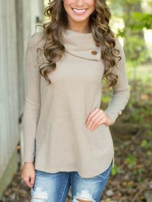 Buttons Long Sleeve Grey Knitwear CA$18.59