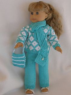 Ravelry: American Girl doll At the Mall pattern by Ase Bence This color is popular right now! Knitting Dolls Clothes, Ag Doll Clothes, Doll Clothes Patterns, Doll Patterns, Crochet Clothes, Diy Clothes, Babies Clothes, Knitting Patterns, Crochet Doll Dress