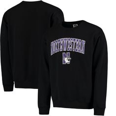 Northwestern Wildcats Arch & Logo Crew Neck Sweatshirt - Black