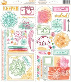 American Crafts - Amy Tangerine Collection - Rise and Shine - Transparent Stickers - Accent and Phrase at Scrapbook.com