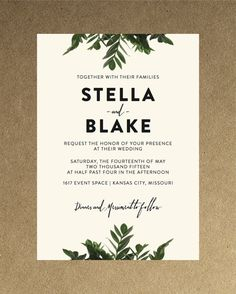 Modern Botanical Greenery Wedding Invitation // Down Payment towards Printed…