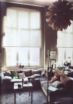 lounging... love the dark interiors
