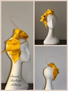 Little Yellow Bow by DIANNE BARBOUR #millinery #hats #HatAcademy
